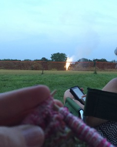 Knitting and Fireworks, a good day!
