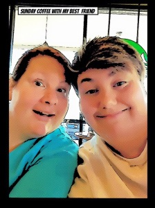 My BFF and I at Sunday coffee